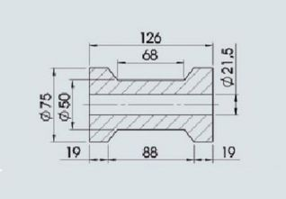 Rodillos para remolque de barco.Rodillo de quilla 198X77mm / REF :360710