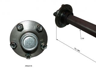 EJE AT94 S/F 50/45 P.1800 (3200 KG) 180019  EJE AGRICOLA SIN FRENO  ATAQUE 94  TUBO CENTRAL DE 50 mm  PISA DE 1800 mm (DE PLATO A PLATO)  CAPACIDAD 3200 KG