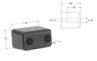 TOPE DE GOMA 116 mm. Topes de goma para la caja de su camión ó remolque para la protección de los posibles golpes en los muelles de carga.