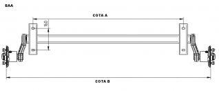 Ejes con freno marca LA MULEÑA.5901750BAA .Eje sin freno de 750 kg marca  KNOTT. 5901750BAA  ATAQUE SEAT 4TX98  ANCLAJE A CHASIS 1100mm ( COTA A )  DE BUJE A BUJE 1500mm ( COTA C )  EJE ESTANCO CON LOS RODAMIENTOS BAÑADOS EN ACEITE.