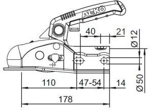 Cabezal redondo de 50mm para remolque sin freno