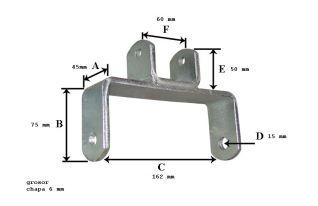 Soporte de rodillo de quilla tubo 60 ref:290662/60