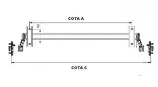 Eje sin freno de 750 kg marca  5900750AFR  ATAQUE FRANCES 4T X 130 Y 85  ANCLAJE A CHASIS 1500mm ( COTA A )  DE BUJE A BUJE 1840mm ( COTA C )  SE SIRVE CON PLETINAS ESTÁNDAR 160 ENTRE CENTROS  ACABADO PINTADO EN NEGRO MATE.  SE PUEDEN HACER OTRAS MED
