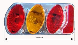 Pilotos traseros . Piloto tuning 5 funciones IZQUIERDO NIEBLA  marca AJ-BA  (dimensiones : 220x100x55)
